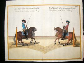 Cavendish Equestrian Dressage 1700 Antique Hand Colored Horse Print 38